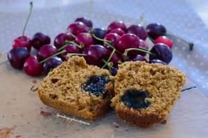 muffins alla ciliegia, vegan, veg, gluten free, senza glutine, dolce con le ciliegie, torta con le ciliegie, fatto in casa, dolci veloci, facile, vegano, bio
